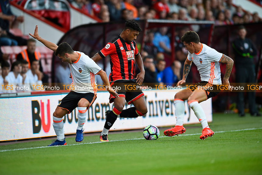 Jordan Ibe of AFC Bournemouth turns Jose Luis Gaya of Valencia left and prepares to take on Santi Mina of Valenciawr during AFC Bournemouth vs Valencia CF, Friendly Match Football at the Vitality Stadium on 3rd August 2016