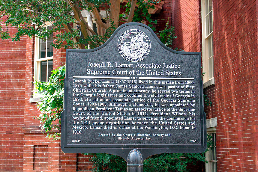 Historic plaque law office of Joseph Lamar in Augusta Georgia