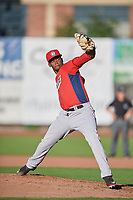 Crusito Mieses (17) of the Orem Owlz delivers a pitch to the plate against the Ogden Raptors in Pioneer League action at Lindquist Field on June 27, 2017 in Ogden, Utah. Ogden defeated Orem 14-5. (Stephen Smith/Four Seam Images)