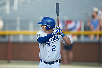 Eric Cole (2) of the Burlington Royals at bat against the Johnson City Cardinals at Burlington Athletic Stadium on July 15, 2018 in Burlington, North Carolina. The Cardinals defeated the Royals 7-6.  (Brian Westerholt/Four Seam Images)