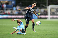 17th November 2019; Jubilee Oval, Sydney, New South Wales, Australia; A League Football, Sydney Football Club versus Melbourne Victory; Brandon Lauton of Melbourne Victory evades a tackle from Paulo Retre of Sydney