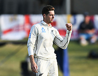 24th November 2019; Mt Maunganui, New Zealand;  Mitchell Santner celebrates the wicket of Burns on day 4 of the 1st international cricket test match, New Zealand versus England at Bay Oval, Mt Maunganui, New Zealand.  - Editorial Use