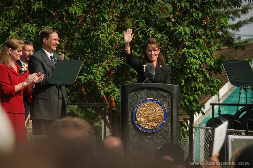 Alaska Governor Sarah Palin speaks at her resignation ceremony on July 26, 2009.