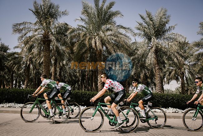 Caja Rural-Seguros RGA before the start of Stage 5 of the Saudi Tour 2020 running 144km from Princess Nourah University to Al Masmak, Saudi Arabia. 8th February 2020. <br /> Picture: ASO/Pauline Ballet | Cyclefile<br /> All photos usage must carry mandatory copyright credit (© Cyclefile | ASO/Pauline Ballet)