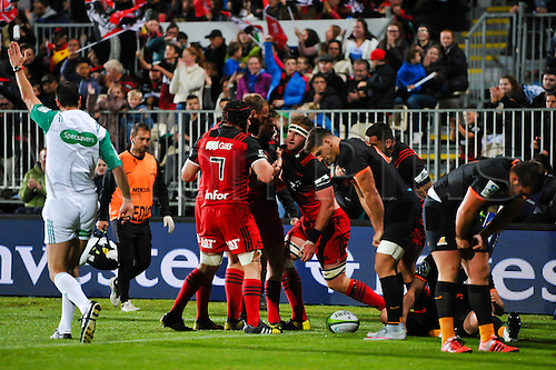 15.04.2016. Christchurch, New Zealand.  The Crusaders celebrates Kieran Read try during the Super Rugby Match, Crusaders V Jaguares, AMI Stadium, Christchurch, New Zealand. 15th April 2016.