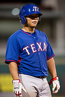 AZL Rangers catcher Francisco Ventura (17) stands on third base during a game against the AZL Indians on August 26, 2017 at Goodyear Ball Park in Goodyear, Arizona. AZL Indians defeated the AZL Rangers 5-3. (Zachary Lucy/Four Seam Images)