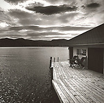 Scan of vintage black & white print. Old Beck's dock and boathouse, Lake George, NY.