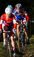 03 NOV 2012 - IPSWICH, GBR - Helen Wyman (GBR) (right) of Great Britain follows Sanne van Passen of the Netherlands during the Elite Women's European Cyclo-Cross Championships in Chantry Park, Ipswich, Suffolk, Great Britain (PHOTO (C) 2012 NIGEL FARROW)