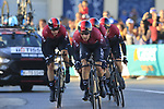 Team Ineos in action during Stage 1 of La Vuelta 2019, a team time trial running 13.4km from Salinas de Torrevieja to Torrevieja, Spain. 24th August 2019.<br /> Picture: Eoin Clarke | Cyclefile<br /> <br /> All photos usage must carry mandatory copyright credit (© Cyclefile | Eoin Clarke)