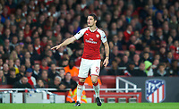 Granit Xhaka of Arsenal during the UEFA Europa League Semi Final 1st leg match between Arsenal and Atletico Madrid at the Emirates Stadium, London, England on 26 April 2018. Photo by Andy Aleksiejczuk / PRiME Media Images