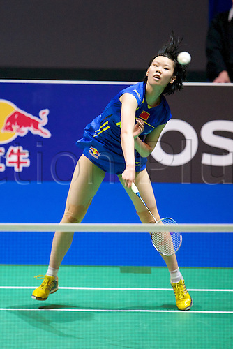 11.03.2012 Birmingham, England. Li Xuerui (CHN) in action during the Yonex All England Open Badminton Championships at the National Indoor Arena.