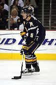 February 17th 2007:  Toni Lydman (5) of the Buffalo Sabres brings the puck up ice vs. the Boston Bruins at HSBC Arena in Buffalo, NY.  The Bruins defeated the Sabres 4-3 in a shootout.