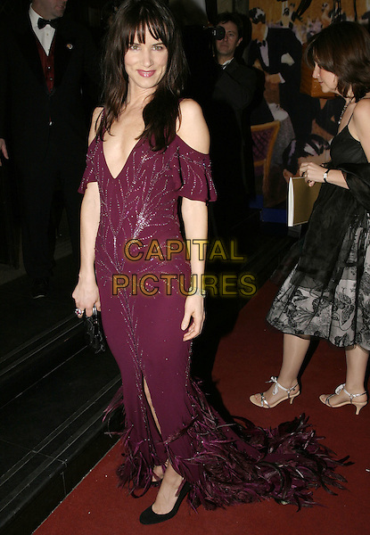 JULIETTE LEWIS.Official BAFTA Aftershow Dinner Party, .Grosvenor House, Park lane, London, .February 12th 2005..full length juliet purple aubergine dress off the shoulder cut out beaded split .Ref: AH.www.capitalpictures.com.sales@capitalpictures.com.©Capital Pictures.