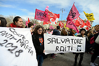 Roma, 21 Marzo 2018<br /> Studenti manifestano contro la Mafia<br /> Striscione per Salvatore Raiti<br /> Il 21 Marzo &egrave; la Giornata della Memoria e dell&rsquo;Impegno in ricordo delle vittime innocenti delle mafie, promossa dall&rsquo;associazione Libera