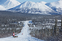 Teams run down the trail on the Denali Highway with the Alaska Range in the background during the start day of the 2015 Junior Iditarod on Sunday March 1, 2015<br /> <br /> <br /> <br /> (C) Jeff Schultz/SchultzPhoto.com - ALL RIGHTS RESERVED<br />  DUPLICATION  PROHIBITED  WITHOUT  PERMISSION