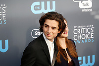 Timothee Chalamet and sister Pauline attend the 23rd Annual Critics' Choice Awards at Barker Hangar in Santa Monica, Los Angeles, USA, on 11 January 2018. Photo: Hubert Boesl - NO WIRE SERVICE - Photo: Hubert Boesl/dpa /MediaPunch ***FOR USA ONLY***