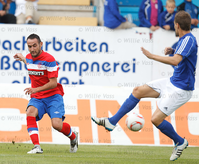 New signing Juan Manuel Ortiz crosses the ball in from the wing