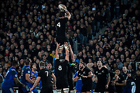 NZ's Sam Whitelock takes lineout ball during the Steinlager Series international rugby match between the New Zealand All Blacks and France at Eden Park in Auckland, New Zealand on Saturday, 9 June 2018. Photo: Dave Lintott / lintottphoto.co.nz
