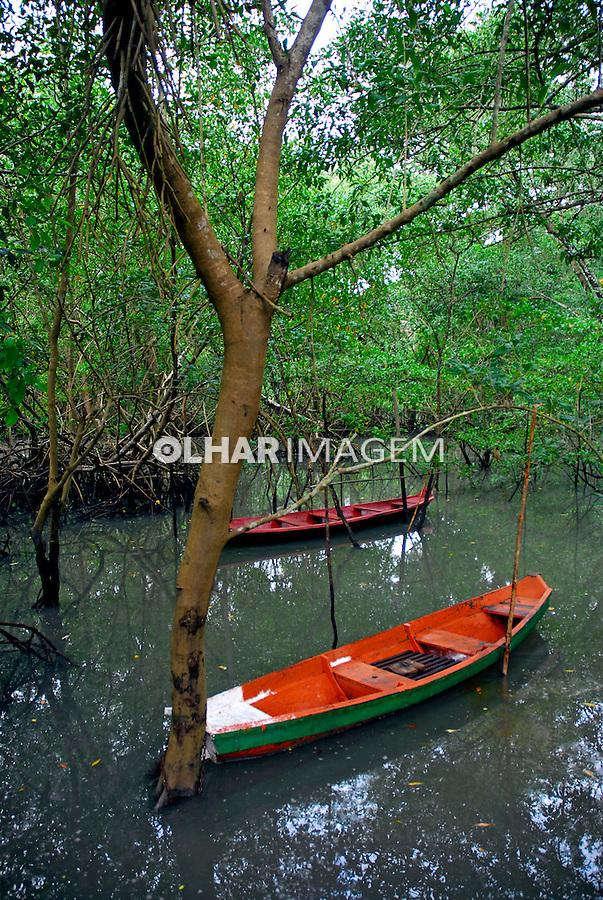 Barcos no mangue em maré cheia. Curuçá. Pará. 2007. Foto de Miguel Chikaoka.
