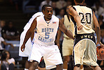 08 November 2008: North Carolina's Ty Lawson (5) guards Pembroke's Scott McNeil (20). The University of North Carolina Tarheels defeated the University of North Carolina at Pembroke Braves 102-62 at the Dean E. Smith Center in Chapel Hill, NC in an NCAA exhibition basketball game.