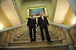 Illinois Democratic Senators Roland Burris and Dick Durbin walk down the stairs underneath a painting of Abraham Lincoln before Burris is sworn in on the floor of the U.S. Senate in Washington, DC on January 15, 2008.
