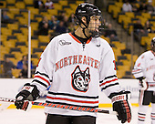 Justin Daniels (Northeastern - 11) - The Harvard University Crimson defeated the Northeastern University Huskies 3-2 in the 2012 Beanpot consolation game on Monday, February 13, 2012, at TD Garden in Boston, Massachusetts.