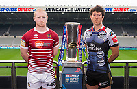 Picture by Allan McKenzie/SWpix.com - 15/05/2017 - Rugby League - Dacia Magic Weekend 2017 Preview - St James Park, Newcastle, England - Wigan's Liam Farrell & Warrington's Stefan Ratchford with the Betfred Super League trophy ahead of their Magic Weekend game.