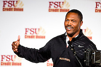 TALLAHASSEE, FLA. 2/6/13-FSUSIGNDAY020613 CH-Florida State University Passing Game Coordinator/Wide Receivers Coach Lawrence Dawsey talks about the 2013 recruiting class during the national signing day War Party, Feb. 6, 2013 in Tallahassee..COLIN HACKLEY PHOTO