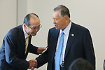 (L-R) Sadaharu Oh, Yoshiro Mori, SEPTEMBER 29, 2015 : The first meeting of the Tokyo 2020 Emblem Selection Committee is held in Tokyo, Japan. This committee initiated the selection of the new Olympic and Paralympic Games emblems. (Photo by Yohei Osada/AFLO SPORT)