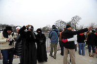 """Crowds gather during the """"We Are One"""" concert in celebration of Barack Obama's inauguration as president of the United States at the Lincoln Memorial in Washington DC on January 18, 2009."""