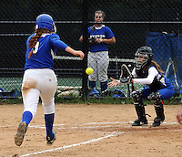GLENSIDE, PA - MAY 29:  Conwell-Egan's Ellie Murray #9  heads for home as Swenson catcher Devon Hill waits for the ball during the District 12 Class AA softball championship May 29, 2014 at Arcadia University in Glenside, Pennsylvania. Conwell-Egan defeated Swenson 15-0. (Photo by William Thomas Cain/Cain Images)