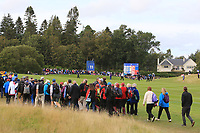 Action on the 11th green during Day 1 Fourball at the Solheim Cup 2019, Gleneagles Golf CLub, Auchterarder, Perthshire, Scotland. 13/09/2019.<br /> Picture Thos Caffrey / Golffile.ie<br /> <br /> All photo usage must carry mandatory copyright credit (© Golffile | Thos Caffrey)