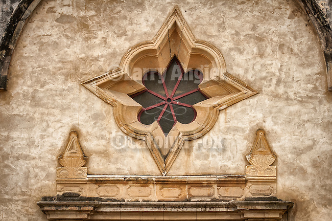 An eight-pointed Mudajer star Window in the front façade of Basilica Chapel, Carmel Mission. Second of the California Missions established in the 18th century by Fr. Junipero Serra, Mission San Carlos Borromeo de Carmelo was established June 3, 1770.