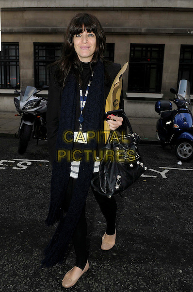 Claudia Winkleman .spotted in London, England, UK, .5th January 2012..full length  black navy blue scarf jiffy bag brown envelope ballet pumps shoes beige nude walking bbc tag id card .CAP/IA.©Ian Allis/Capital Pictures.
