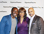 """All My Children's Tonya Pinkins """"Livie Frye"""" and As The World Turns poses with Gbenga Akinnagbe (Gifted Man, Good Wife & Nurse Jackie) and Ruben Santiago-Huson (All My Children & Another World) on Opening Night on February 27, 2012 as she stars in Hurt Village at The Pershing Square Signature Center, New York City, New York.  (Photo by Sue Coflin/Max Photos)"""