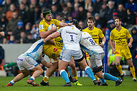 24th November 2019; AJ Bell Stadium, Salford, Lancashire, England; European Champions Cup Rugby, Sale Sharks versus La Rochelle; Romain Sazy of La Rochelle is tackled by Ross Harrison of Sale Sharks - Editorial Use