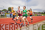 Action from the Girls U-16 1500 Final at the Kerry community games athlethics finals at an Riocht, Castleisland on Sunday.