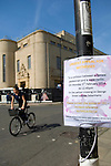Sign 'Urgent appeal for witnesses to a collision between a female pedestrian and a male cyclist on Monday 3rd February 2014'. New Bodleian Library, Oxford, UK. Saturday 29 March 2014.<br /> <br /> PHOTO COPYRIGHT Graham Harrison<br /> graham@grahamharrison.com<br /> <br /> Moral rights asserted.