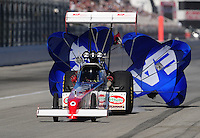 Nov 13, 2010; Pomona, CA, USA; NHRA top fuel dragster driver T.J. Zizzo during qualifying for the Auto Club Finals at Auto Club Raceway at Pomona. Mandatory Credit: Mark J. Rebilas-