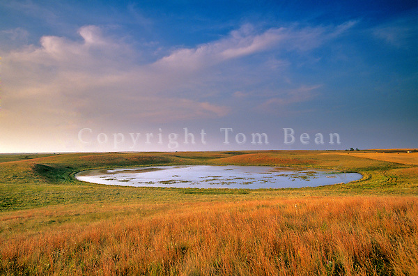 Prairie pothole, wetland at sunset on the Goven Ranch, north of Turtle Lake, North Dakota, AGPix_0574.