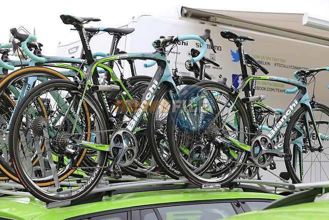Belkin team Bianchi Oltre bikes atop the team car in York Racecourse before the start of Stage 2 of the 2014 Tour de France running 200km from York to Sheffield. 6th July 2014.<br /> Picture: Eoin Clarke www.newsfile.ie