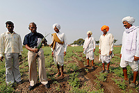 INDIA Madhya Pradesh , biodynamic organic cotton project bioRe in Kasrawad , farmers school and training on crop rotation, inter cropping etc / INDIEN Madhya Pradesh , bioRe Projekt fuer biodynamischen Anbau in Kasrawad , Farmer Schulung zum Thema Fruchtfolge