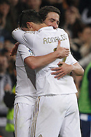 24.03.2012 SPAIN -  La Liga matchday 30th  match played between Real Madrid CF vs Real Sociedad (5-1) at Santiago Bernabeu stadium. The picture show  Cristiano Ronaldo (Portuguese forward of Real Madrid) and  Gonzalo Higuain (Argentine/French Forward of Real Madrid) celebrating his team's goal