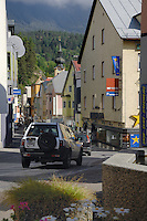 Imst shops and church steeple. Imst district,Tyrol, Austria.