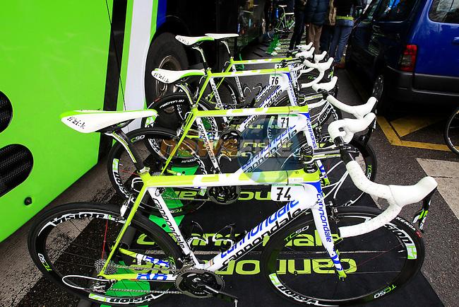 Cannondale Pro Cycling Team bikes lined up at the start of the 104th edition of the Milan-San Remo cycle race at Castello Sforzesco in Milan, 17th March 2013 (Photo by Eoin Clarke 2013)