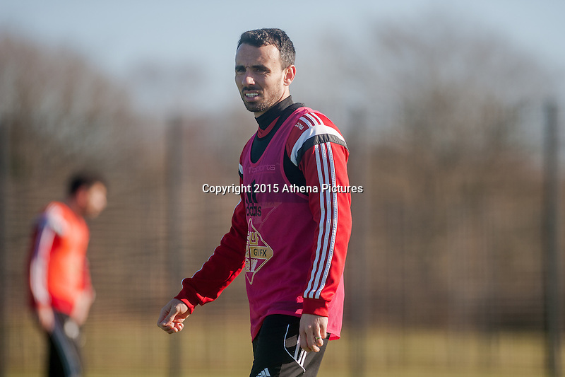 SWANSEA, WALES - FEBRUARY 17: Leon Britton of Swansea City  in action during a training session at the Fairwood training ground on February 17, 2015 in Swansea, Wales.  (Photo by Athena Pictures )