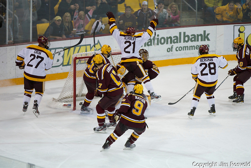 14 Oct 11: Caleb Herbert (Minnesota-Duluth - 21) The University of Minnesota-Duluth Bulldogs host the University of Minnesota Golden Gophers in a WCHA matchup at Amsoil Arena in Duluth, MN.