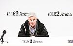 Stockholm 2015-03-01 Fotboll Svenska Cupen Hammarby IF - Landskrona BoIS :  <br /> Hammarbys tr&auml;nare Nanne Bergstrand under presskonferensen efter matchen mellan Hammarby IF och Landskrona BoIS <br /> (Foto: Kenta J&ouml;nsson) Nyckelord:  Fotboll Svenska Cupen Cup Tele2 Arena Hammarby HIF Bajen Landskrona BOIS tr&auml;nare manager coach portr&auml;tt portrait