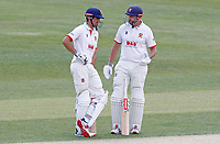 Sir Alastair Cook (left) and Nick Browne (right) of Essex chat between overs during Essex CCC vs Kent CCC, Bob Willis Trophy Cricket at The Cloudfm County Ground on 2nd August 2020