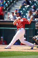 Buffalo Bisons outfielder Brad Glenn (28) at bat during a game against the Louisville Bats on May 2, 2015 at Coca-Cola Field in Buffalo, New York.  Louisville defeated Buffalo 5-2.  (Mike Janes/Four Seam Images)